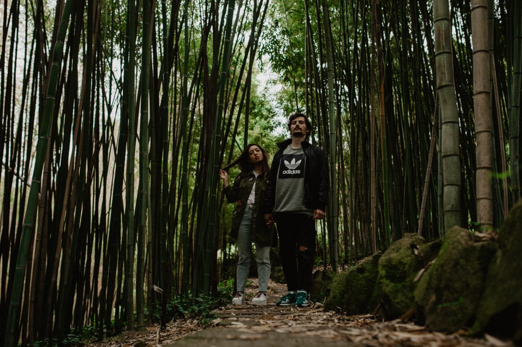 photography engagement couple in a bamboo forest