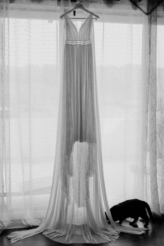 wedding dress hanging and black cat at the bottom