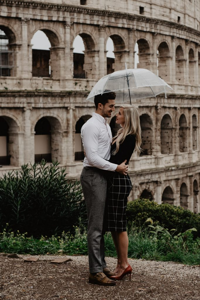 Couple at the Colosseum in Rome during a wedding engagement