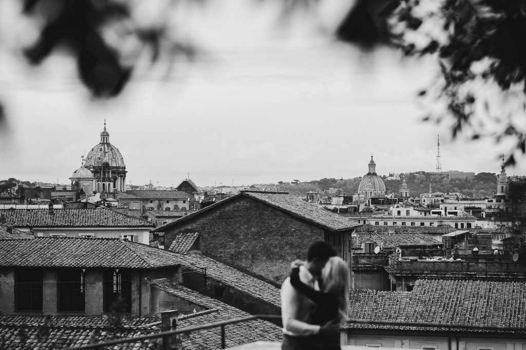 black and white couple with Rome background