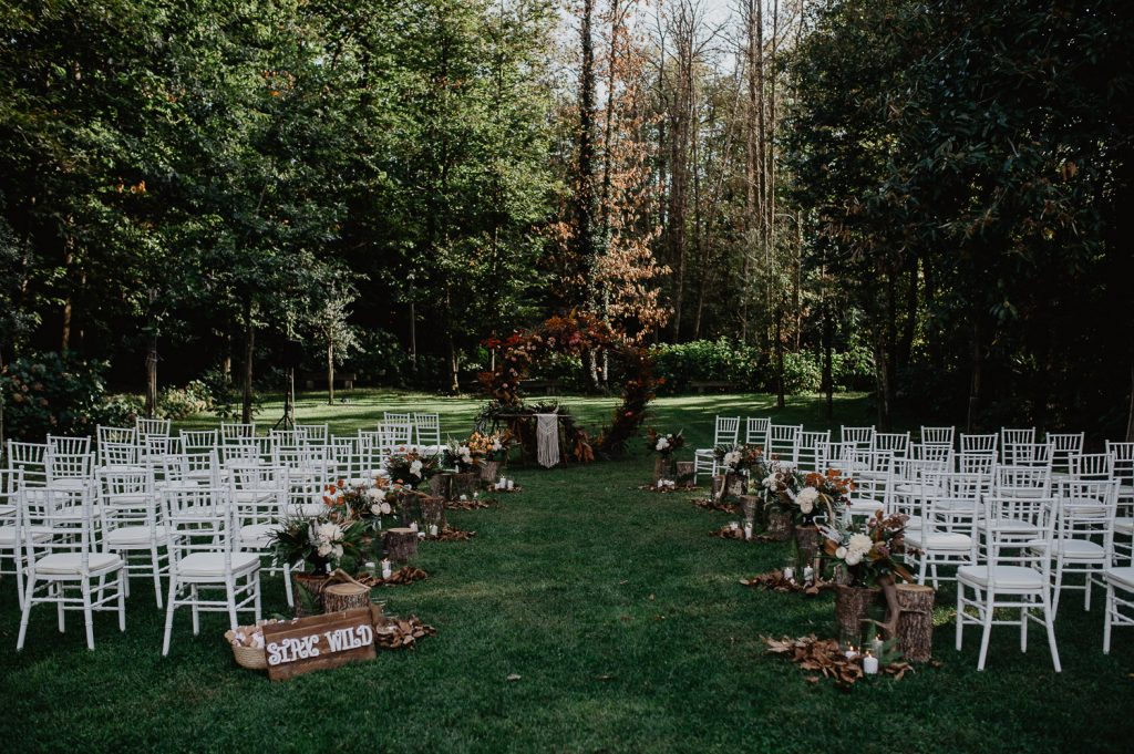 wild wedding ceremony in a wood