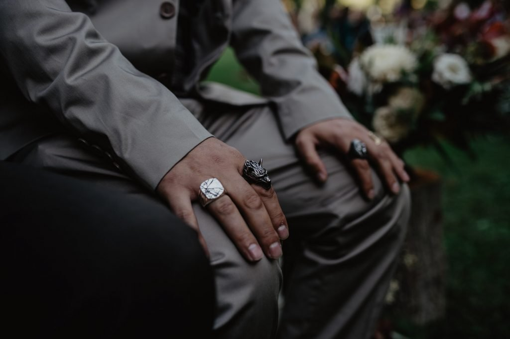 wedding guest with a wolf ring