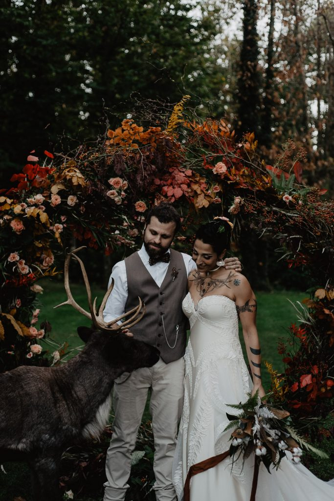 photo with the groom, the bride with an elk